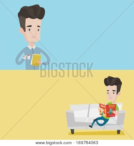 Two media banners with space for text. Vector flat design. Horizontal layout. Young journalist writing notes with pencil. Journalist writing notes in notepad. Man sitting on sofa and reading magazine.