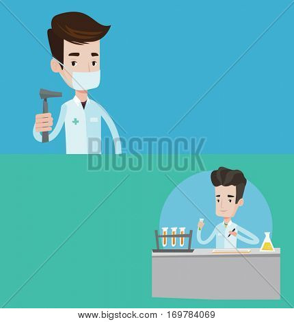 Two medical banners with space for text. Vector flat design. Horizontal layout. Laboratory assistant working with a test tube and taking some notes. Laboratory assistant analyzing liquid in test tube.