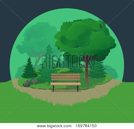 Summer vector landscape with bench and road