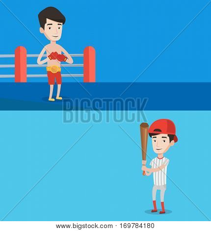 Two sport banners with space for text. Vector flat design. Horizontal layout. Professional male boxer in boxing gloves standing on the background of boxing ring. Baseball player standing with a bat.