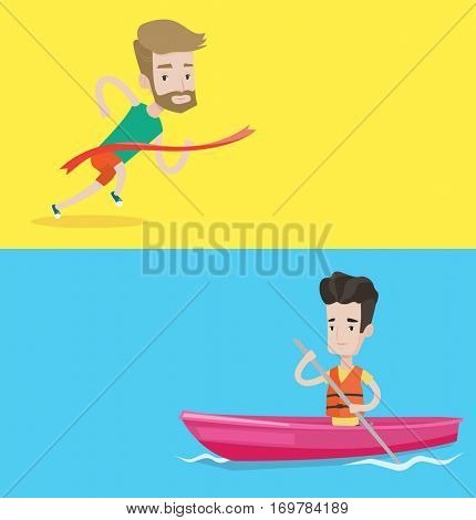 Two sport banners with space for text. Vector flat design. Horizontal layout. Caucasian sportsman riding in a kayak. Young caucasian man traveling by kayak. Male kayaker paddling. Man paddling a canoe