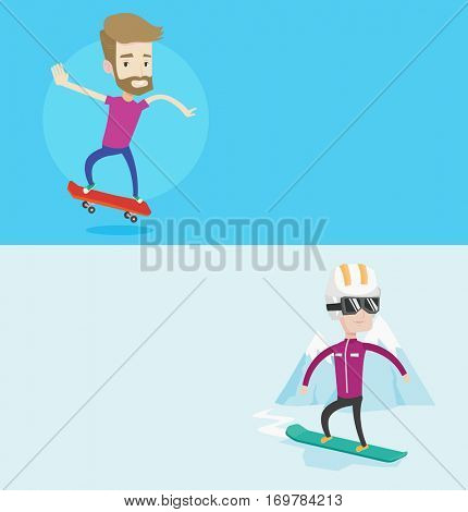 Two sport banners with space for text. Vector flat design. Horizontal layout. Hipster man riding a skateboard. Happy man skateboarding. Young skater riding a skateboard. Man jumping with skateboard.