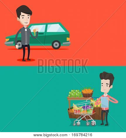 Two shopping banners with space for text. Vector flat design. Horizontal layout. Man holding keys to his new car. Happy man showing key to his new car. Man standing on the backgrond of his new car.