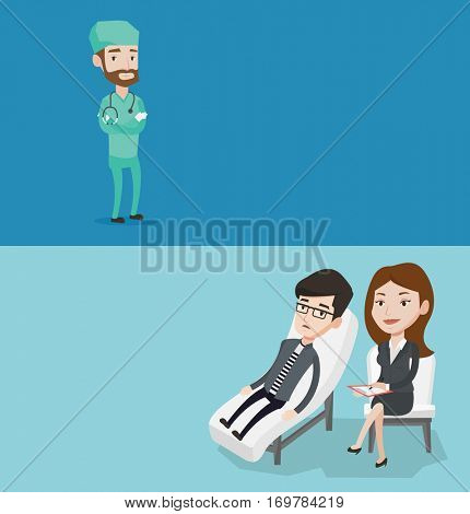 Two medical banners with space for text. Vector flat design. Horizontal layout. Surgeon standing with arms crossed. Young confident surgeon in medical uniform. Surgeon with stethoscope on his neck.