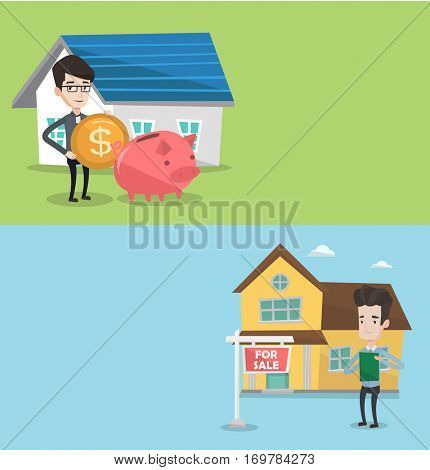 Two real estate banners with space for text. Vector flat design. Horizontal layout. Happy real estate agent standing in front of the house with placard for sale. Real estate agent selling a house.