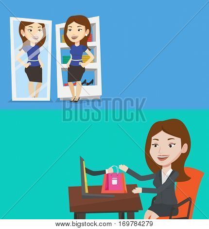 Two shopping banners with space for text. Vector flat design. Horizontal layout. Happy caucasian woman looking at herself in a mirror in dressing room. Young woman trying on skirt in dressing room.