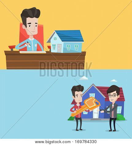 Two real estate banners with space for text. Vector flat design. Horizontal layout. Young real estate agent signing contract. Real estate agent sitting at workplace and signing home purchase contract.