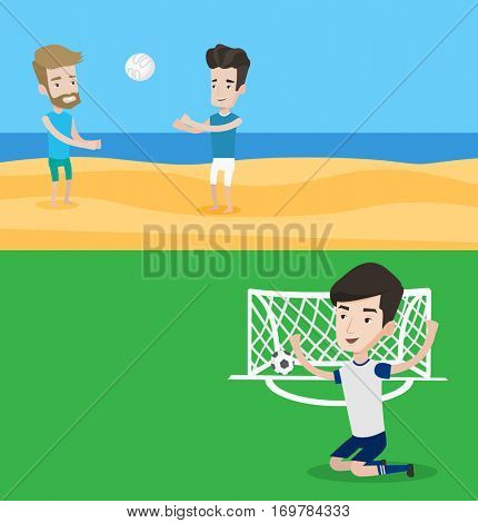 Two sport banners with space for text. Vector flat design. Horizontal layout. Football player celebrating scoring goal. Young football player kneeling on the background of football gate with ball.