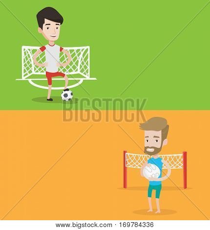 Two sport banners with space for text. Vector flat design. Horizontal layout. Hipster sportsman holding volleyball ball in hands. Beach volleyball player standing on the background of voleyball net.