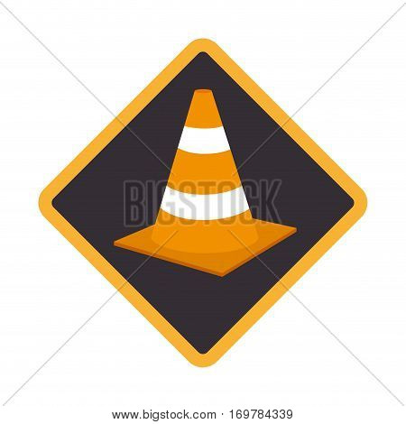 color road sign with traffic cone with lines orange and white vector illustration