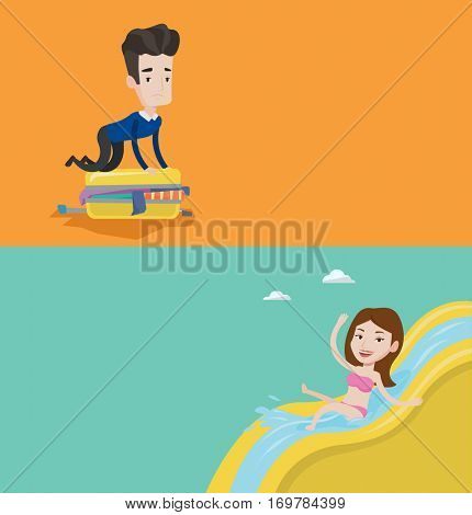 Two travel banners with space for text. Vector flat design. Horizontal layout. Woman riding down a waterslide at aquapark. Woman having fun on a water slide in waterpark. Girl going down a water slide