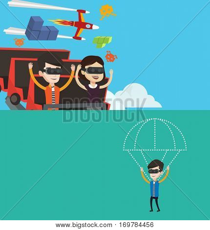 Two technology banners with space for text. Vector flat design. Horizontal layout. Couple in vr headset riding on roller coaster. Man and woman in vr glasses having fun in virtual amusement park.