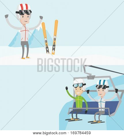 Two sport banners with space for text. Vector flat design. Horizontal layout. Two happy men sitting on ski elevator in mountains. Skiers using cableway at ski resort. Skiers on cableway in mountains.