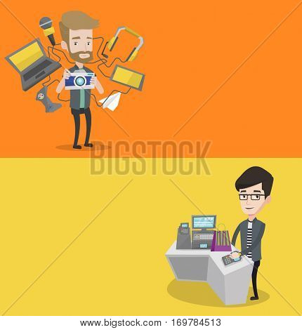 Two technology banners with space for text. Vector flat design. Horizontal layout. Man paying wireless with his smart watch at the checkout counter. Man making payment for purchase with smart watch.