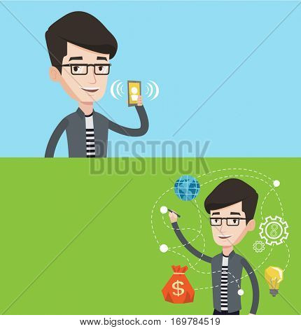 Two technology banners with space for text. Vector flat design. Horizontal layout. Caucasian businessman writing on a virtual screen. Young businessman drawing business plan on a virtual screen.