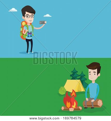 Two travel banners with space for text. Vector flat design. Horizontal layout. Travelling man sitting on log near campfire on the background of camping site. Young caucasian man resting near campfire.