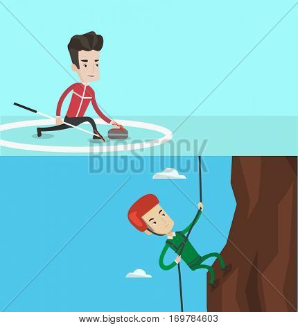 Two sport banners with space for text. Vector flat design. Horizontal layout. Rock climber in protective helmet climbing on a rock. Smiling man climbing in mountains with rope. Man climbing a rock.