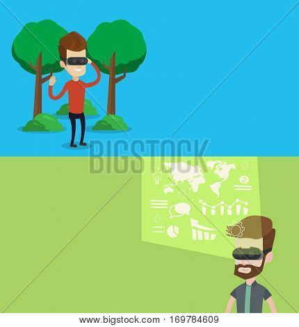 Two technology banners with space for text. Vector flat design. Horizontal layout. Man wearing virtual reality headset in the park. Man using virtual reality glasses and playing videogame in the park.