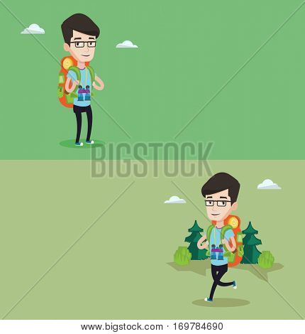 Two travel banners with space for text. Vector flat design. Horizontal layout. Hiking caucasian man standing with backpack and binoculars. Backpacker walking outdoor. Backpacker traveling in nature.