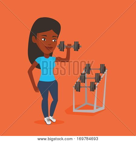 Sporty woman lifting a heavy weight dumbbell. African-american strong sportswoman doing exercise with dumbbell. Weightlifter holding dumbbell in the gym. Vector flat design illustration. Square layout
