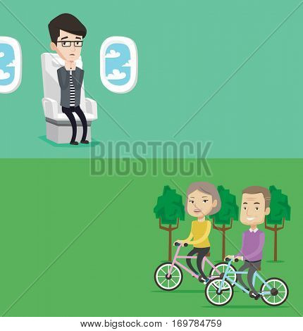 Two transportation banners with space for text. Vector flat design. Horizontal layout. Caucasian man shocked by plane flight in a turbulent area. Terrified airplane passenger frightened by flight.
