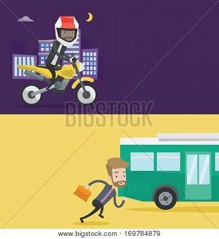 Two transportation banners with space for text. Vector flat design. Horizontal layout. Young man in helmet riding a motorcycle on the background of night city. Man driving a motorbike on city road.