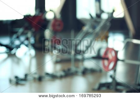 Apparatus in a gym, blurred background
