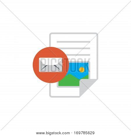 Vector icon or illustration showing web site content with text file and e-mail sign in material design style