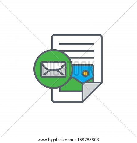 Vector icon or illustration showing web site content with with text file and e-mail sign in outline design style