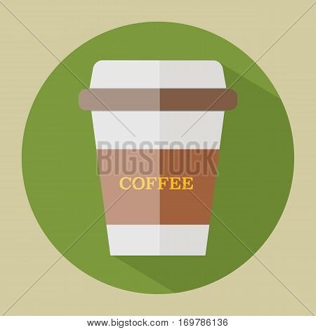 Disposable coffee cup icon vector illustration flat design with shadow