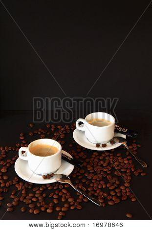 Coffee espresso on black background