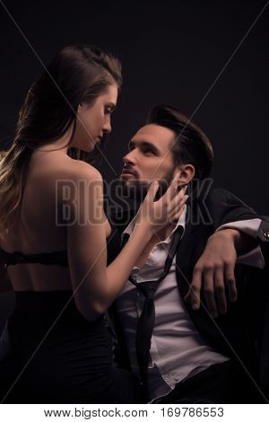 Yonng Couple Sexy Passion Woman Pulling Necktie