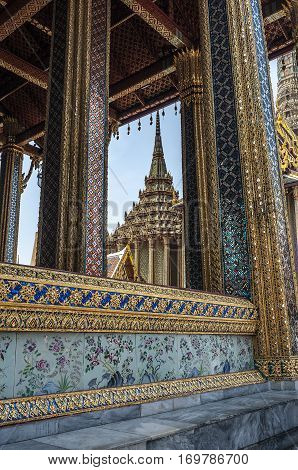Thailand Bangkok. Wat Phra Kaew or Temple of the Emerald Buddha - one of the most important shrines of the Buddhists of Thailand.