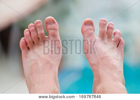 Close up picture of a young man's feet