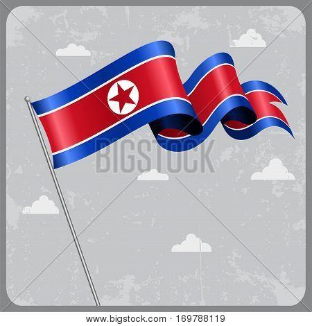 North Korean flag wavy abstract background. Vector illustration.