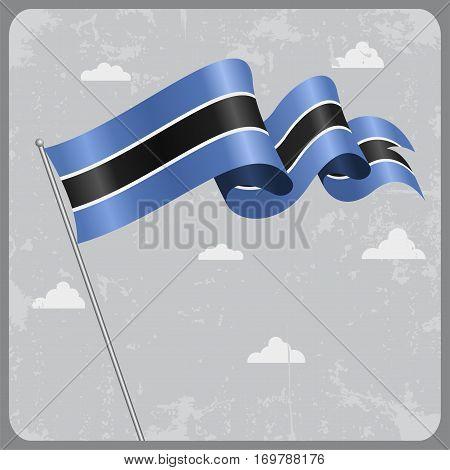 Botswana flag wavy abstract background. Vector illustration.