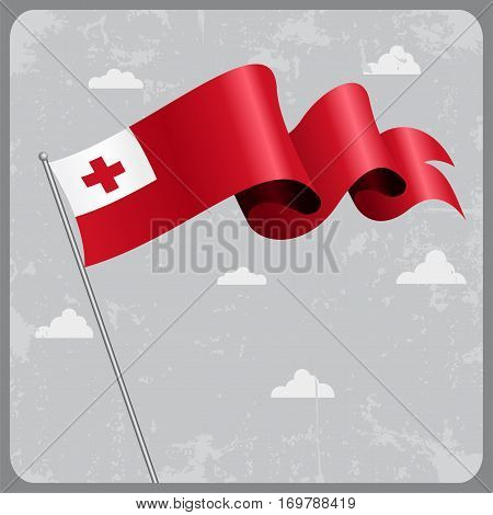 Tonga flag wavy abstract background. Vector illustration.