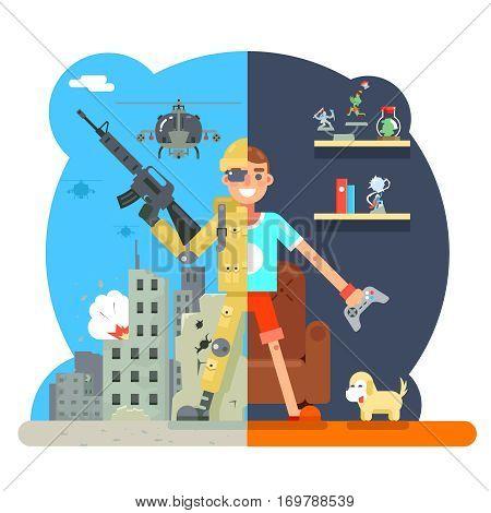 Online shooter gamer soldier immersion virtual reality living room battlefield design character vector illustration