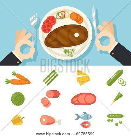 Restaurant Food Icons Meat Fish Vegetables Set Hands Cutlery Plate Fork and Knife oncept Symbol Stylish Background Flat Design Vector Illustration