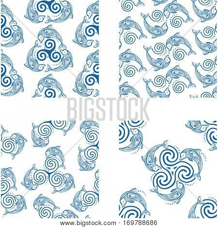 Set of Seamless patterns with dolphins