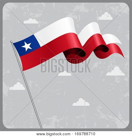 Chilean flag wavy abstract background. Vector illustration.