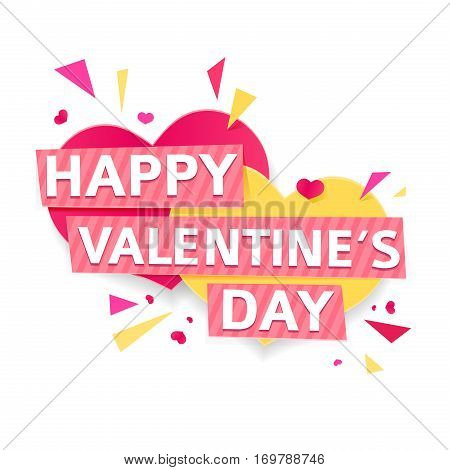 Design banner for Valentine's day. Modern symbol with geometric particles for happy Valentine's day holiday. Pink and yellow couple heart with text for romantic card and banner. Vector