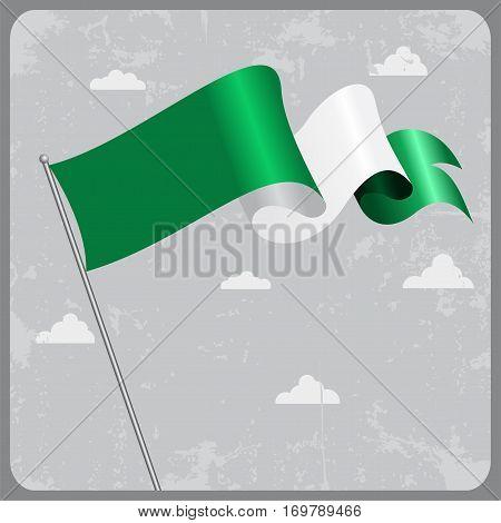 Nigerian flag wavy abstract background. Vector illustration.