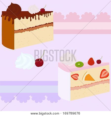 sweet cake gift card or invitation on lilac background