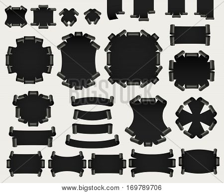 Set of dark realistic paper or satin banners. Ribbon with twirl. Vector illustration.