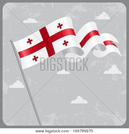 Georgian flag wavy abstract background. Vector illustration.