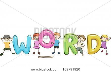 Stickman and Typography Illustration of Kids Trying to Spell a Word That Has a Missing Letter