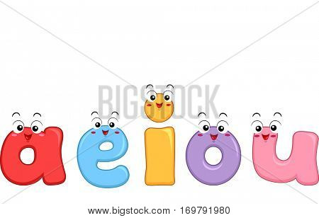 Colorful Mascot Illustration Featuring the Vowels of the English Alphabet