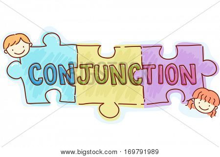 Stickman and Typography Illustration of Kids Playing with Pieces of Jigsaw Puzzle with the Word Conjunction Written on Them