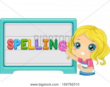 Illustration of a Cute Little Kid Arranging Letters on a Magnetic Board to Form the Word Spelling